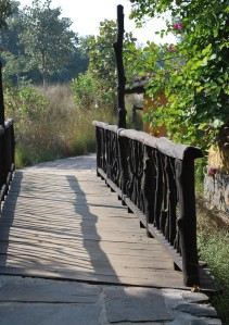charming wooden bridges form part of the walkways