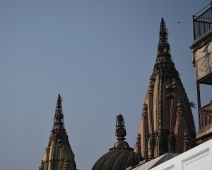 A bird and temple spires