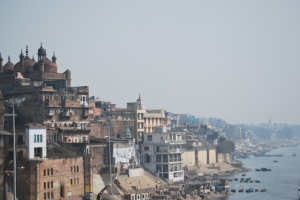 a 400 yr old mosque overooks the ganges