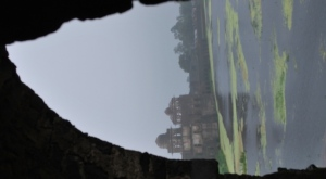 Jahaz mahal. A palace in the midst of  lakes viewed from  two stories below ground level