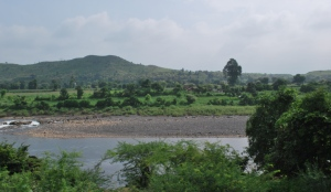 a village on the riverbank