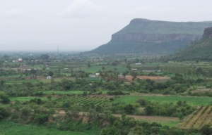 rolling fields as we descend from the ghats