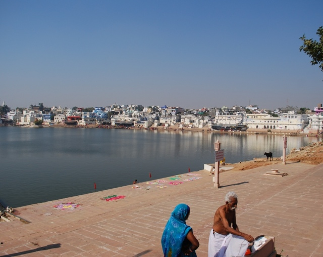 bathing at changing at the ghats