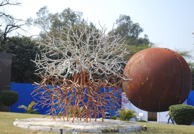 metallic trees and balls