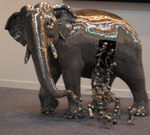 people and elephants